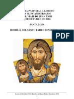 Loreto 4 Octubre 2012. Homilía del Santo Padre Benedicto XVI