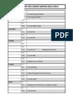 Calendrier Definitif Des Cross 2012-2013