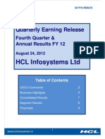Q4 FY12 Earning Release