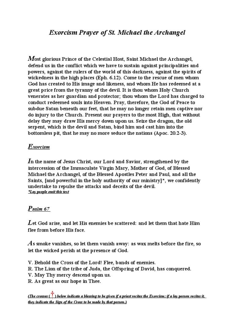 Exorcism Prayer of St  Michael the Archangel | Michael
