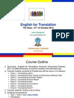 English for Translation Class7 Module8 (20121021)