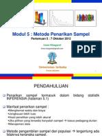 Pengantar Statistik Sosial Pertemuan5 Modul5 (20121007)