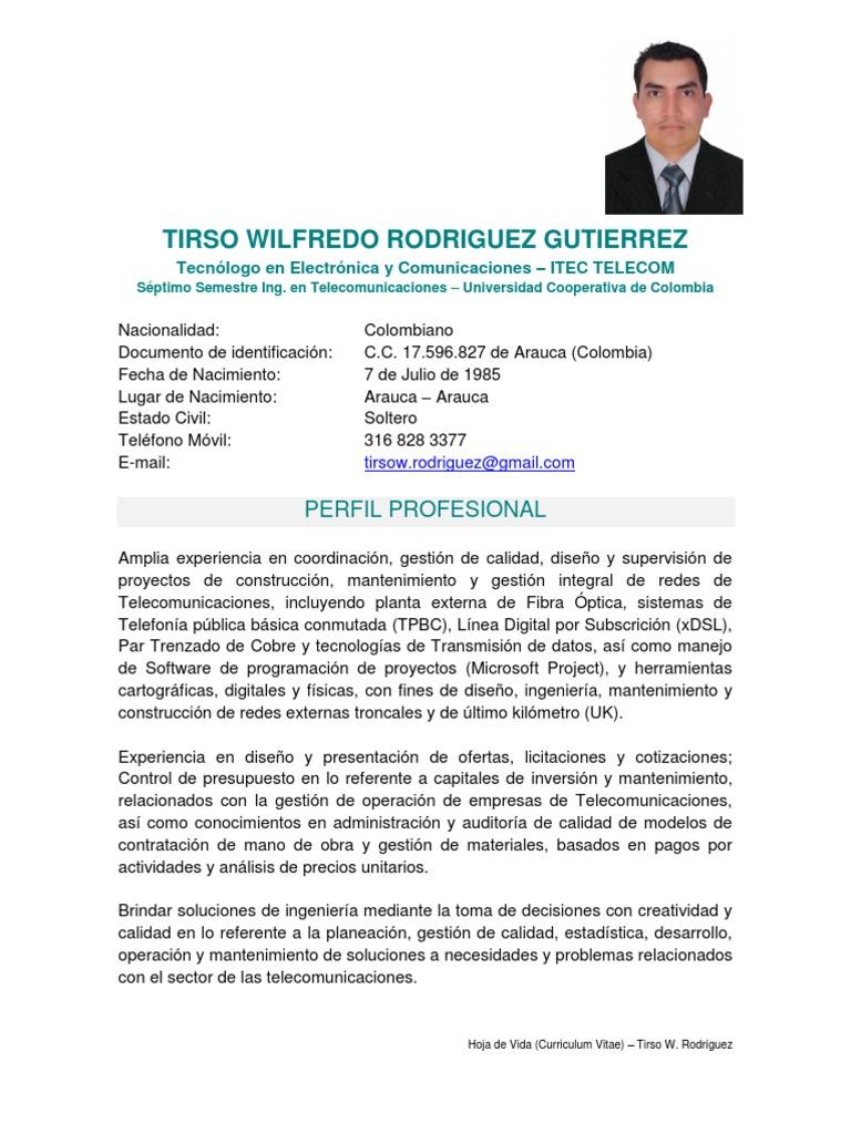 Hoja de Vida - Tirso Rodríguez
