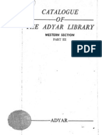 Catalogue of the Adyar Library Western Section Part III