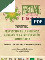 Programa Seminario PREVENCIÓN DE LA VIOLENCIA A TRAVÉS DE LA INTERVENCIÓN COMUNITARIA