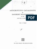 Descriptive Catalogue of Sanskrit Manuscripts in the Adyar Library Vol - 1 Vedic
