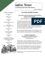 January - February 2005 Native News ~ Maryland Native Plant Society