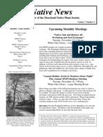 November - December 2007 Native News ~ Maryland Native Plant Society