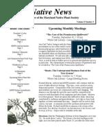 September - October 2008 Native News ~ Maryland Native Plant Society