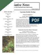 March - April 2009 Native News ~ Maryland Native Plant Society