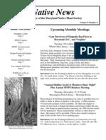 November - December 2009 Native News ~ Maryland Native Plant Society
