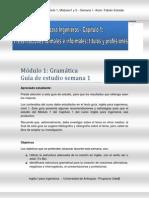 Guia de Estudio Ingles I - Capitulo 1 Modulos 1 y 2 - Semana 1 - Fabian Estrada