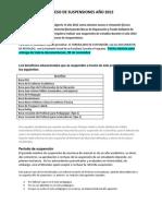 TRÁMITES PARA SUSPENSION BENEFICIOS 2012-1