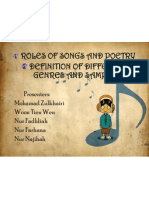 Roles of song and poetry, different genres