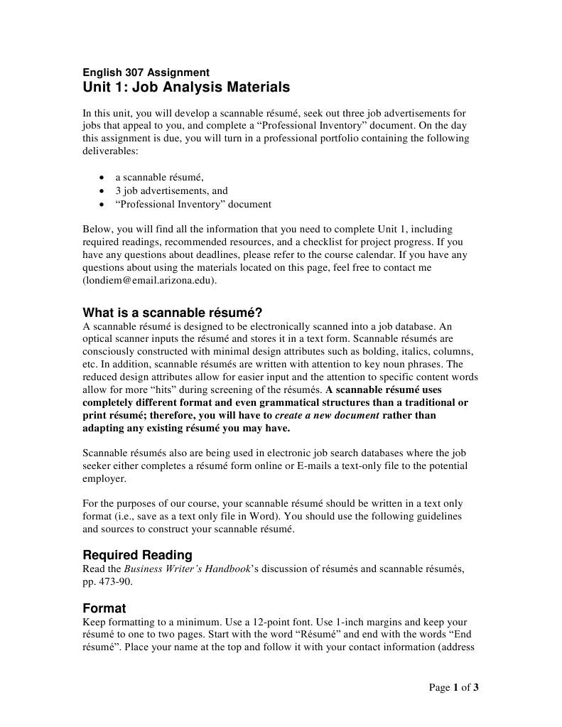 307 Unit 1 Job Analysis Materials | Résumé | Computing