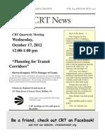Citizens for Regional Transit - Oct.17 Quarterly Meeting & Newsletter