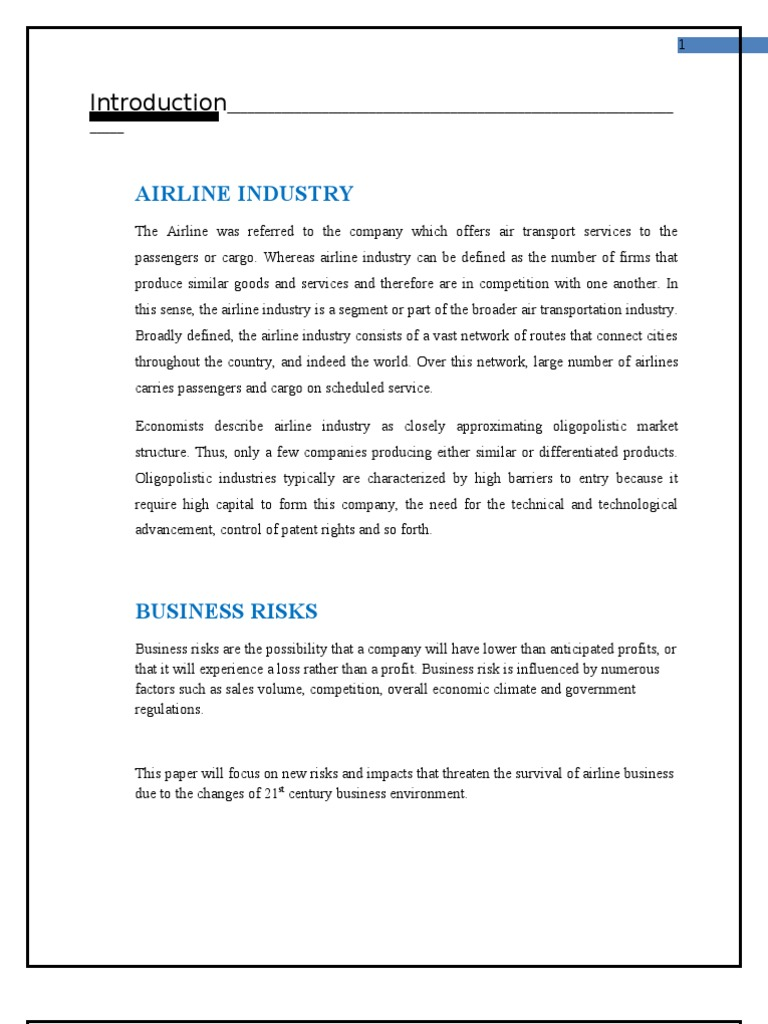 airline industry risk factors