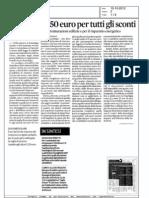 """""""Ticket"""" da 250 euro per tutti gli sconti - Il Sole 24 Ore 13/10/2012"""