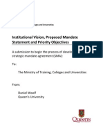 Ontario - Institutional Vision, Proposed Mandate Statement and Priority Objectives - Queen's University