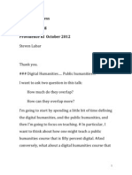 Digital Public Humanities; Notes for NEASA Talk 10-12-2012
