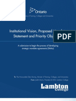 Ontario - Institutional Vision, Proposed Mandate Statement and Priority Objectives - Lambton College