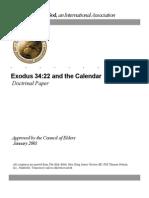 Calendar and Exodus 34v22 (Ucg)