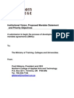 Ontario - Institutional Vision, Proposed Mandate Statement and Priority Objectives - Northern College of Applied Arts and Technology