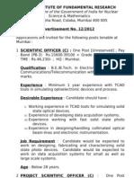Notification TIFR Various Vacancies 1