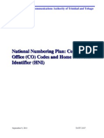 Central Office Codes and Home Network Identifier - HNI - Numbering Plan