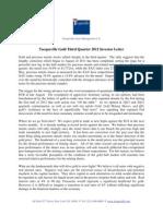 Tocqueville Gold Investor Letter - Third Quarter 2012
