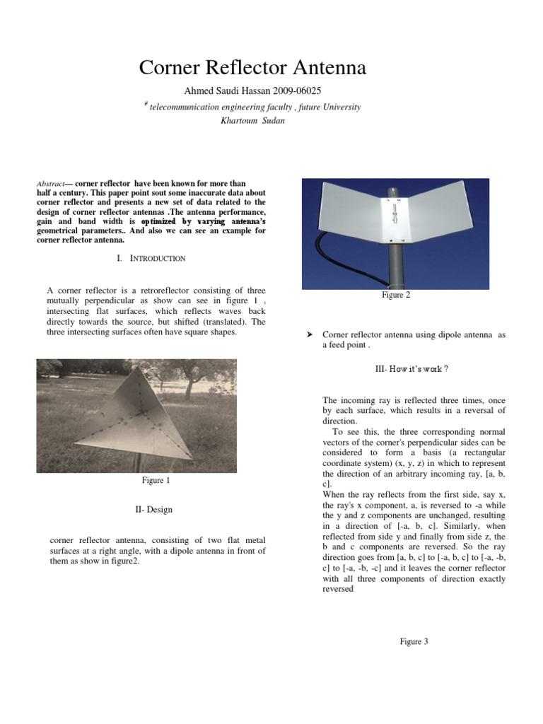 IEEE in cornar antenna   Antenna (Radio)   Reflection (Physics)