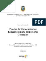 Inspectores Generales Pruebas de Conocimientos Especificos