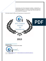 MTC Global Award for Excellence-2013- Logo released