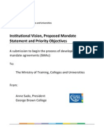 Ontario - Institutional Vision, Proposed Mandate Statement and Priority Objectives - George Brown College