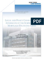 Legal and Policy Choices in the Aftermath of the Subprime and Mortgage Financing Crisis