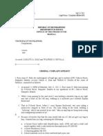 Complaint Affidavit Sample