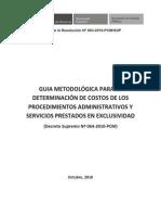 Guia Metodologica de Determinacion de Costos de Procedimientos Administrativos y Servicios Prestados en Exclusividad