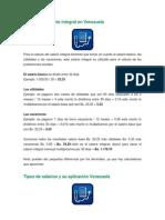Cálculo del salario integral en Venezuela