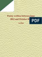 Poetry Written Between June 2012 and 15/10/2012