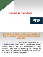 Beatriz Armendariz Has Been Appointed as a Summer School Professor at Universidad de Los Andes