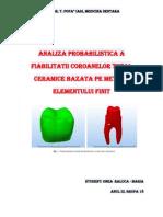 Evaluarea fiabilităţii şi predicţie durata de viaţă a restaurărilor orale pentru stomatologi au fost întotdeauna  preocupare majoră în domeniul proteticii dentare