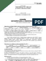 Cennik osvedcovania a certifikacie 2012