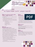 """Présentation des Trophées ANDRH """"Juni'Or"""" - catégorie """"Junior RH"""""""