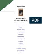 Krishnamurti « Les Années de L'Éveil », par Mary Lutyens