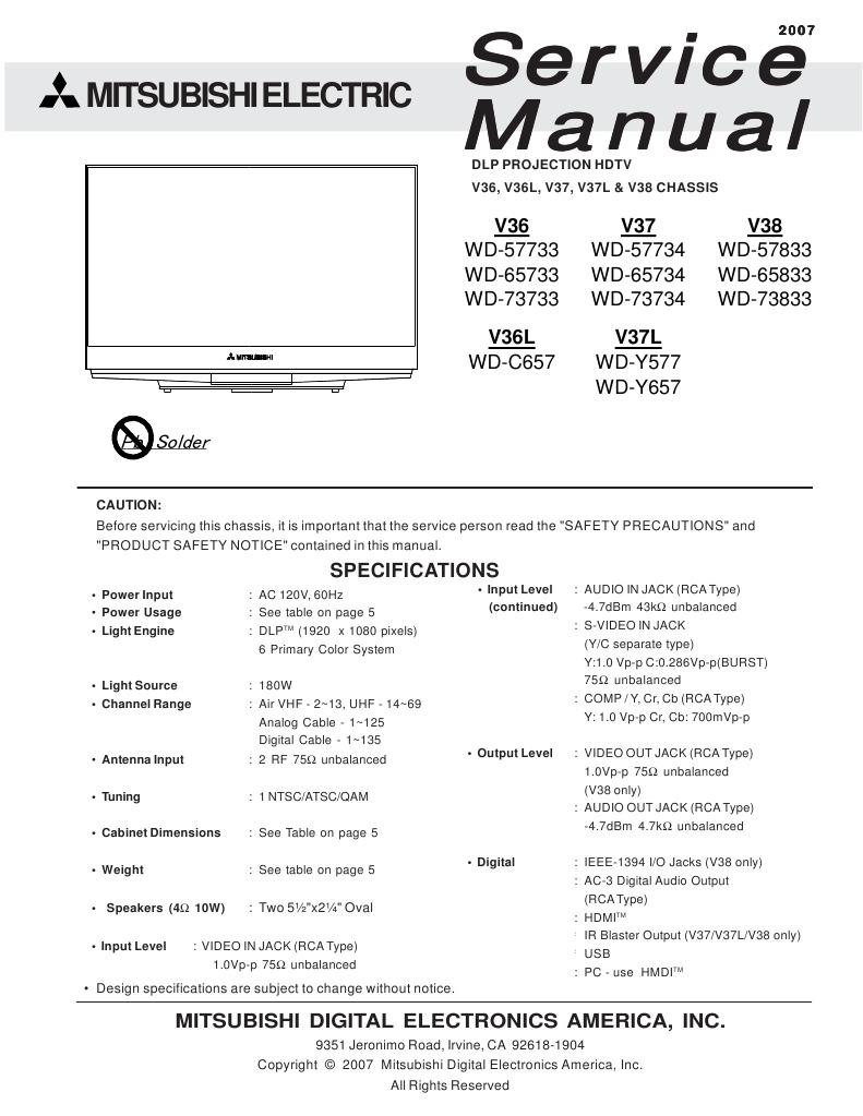 mitsubishi service manual for dlp projection hdtv model wd 57733 rh scribd com