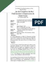 Le Jugement Porté Sur La récitation Du Coran, l'Invocation Faite en Faveur Du défunt, Ainsi Qu'En
