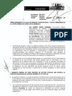 Escrito presentado por la Procuraduría Pública Especializada en Materia Constitucional en el Expediente N° 522-2012 (Exp. N° 55-2011 en Sala Superior)