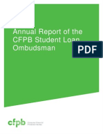 Consumer Finance Protection Bureau Student Loan Ombudsman's Annual Report