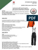 Chaqueta y pantalón Eider Uphill ganan el Apex awards 2012 Lafuma nota prensa 26jun12