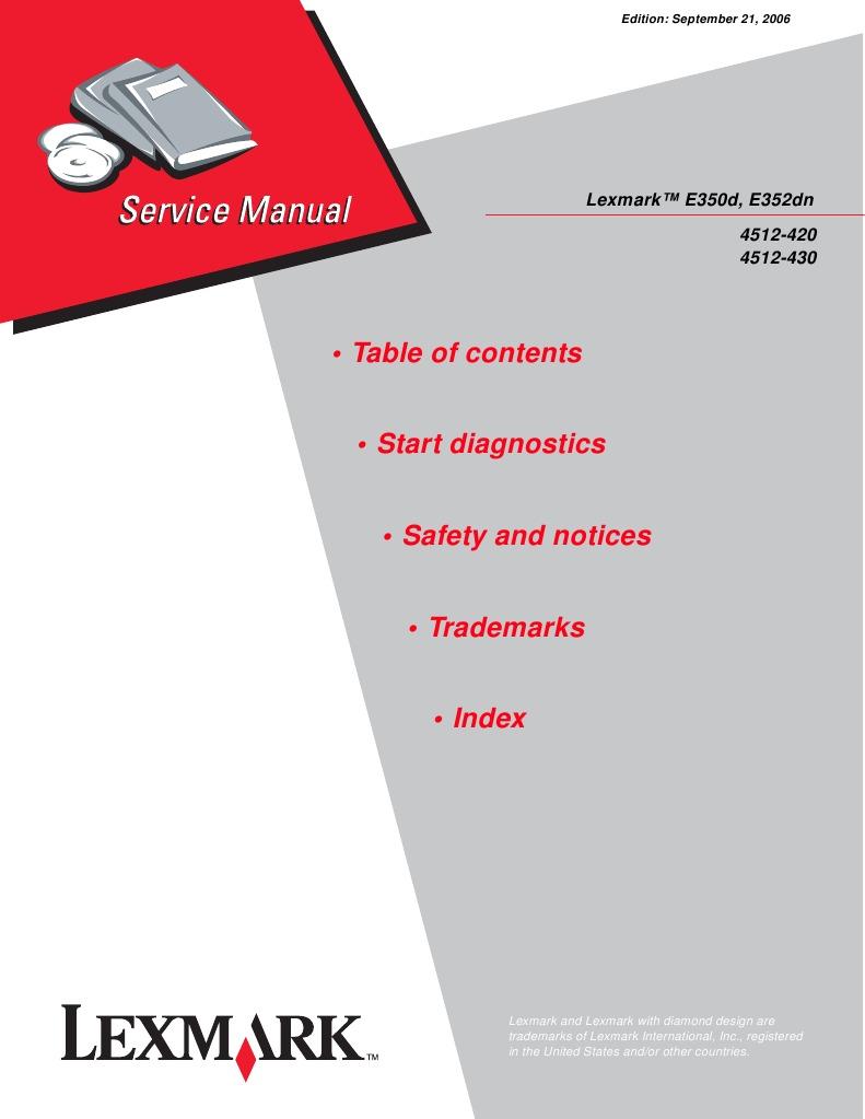 4512 4xx lexmark e350d e352dn service manual menu printer rh scribd com